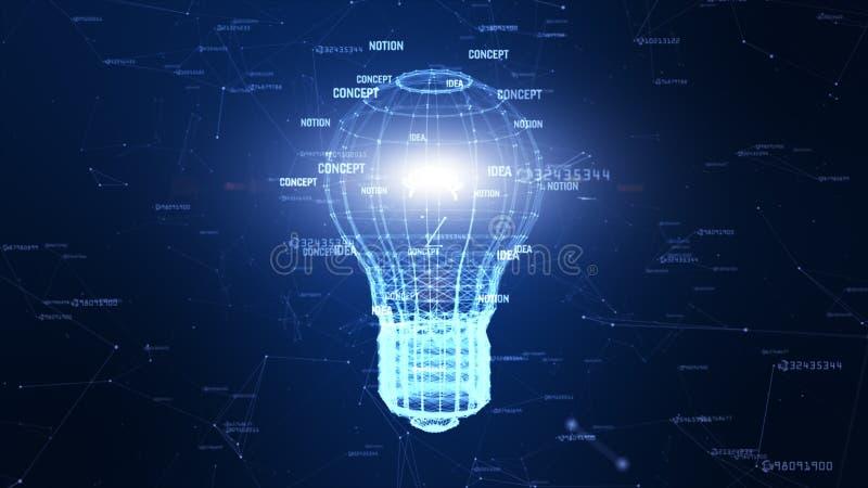 Сеть технологии с идеей цифровой голубой предпосылки лампы творческой для сети в концепции мира цифровой иллюстрация штока