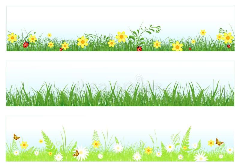 сеть травы знамен иллюстрация вектора