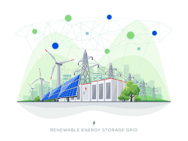 Сеть электропередач способная к возрождению хранения батареи солнечных и ветра энергии умная с линиями электропередач иллюстрация штока