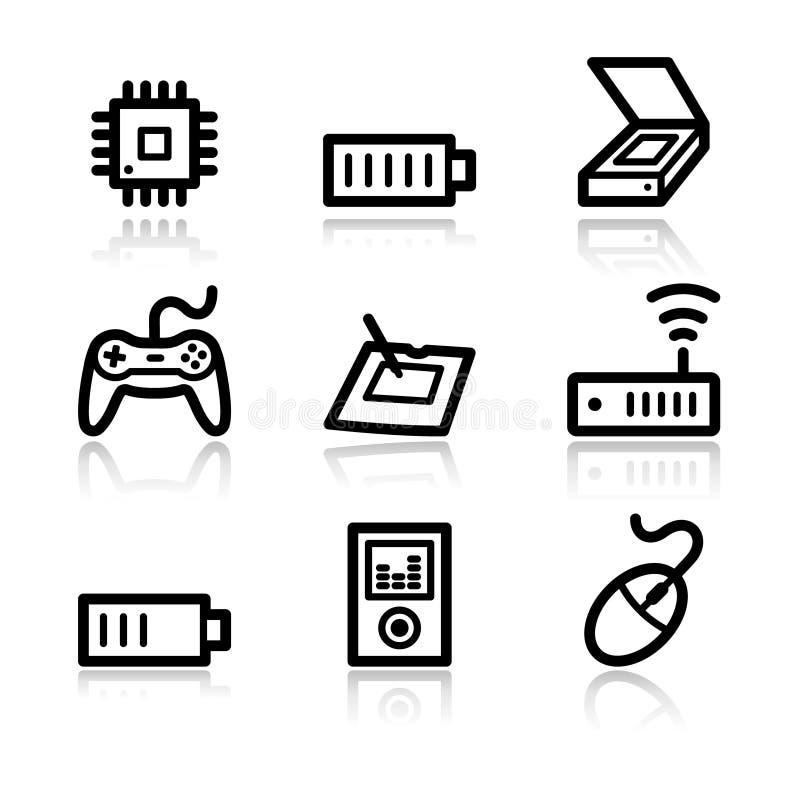 Download сеть 2 икон электроники иллюстрация вектора. иллюстрации насчитывающей место - 6850199