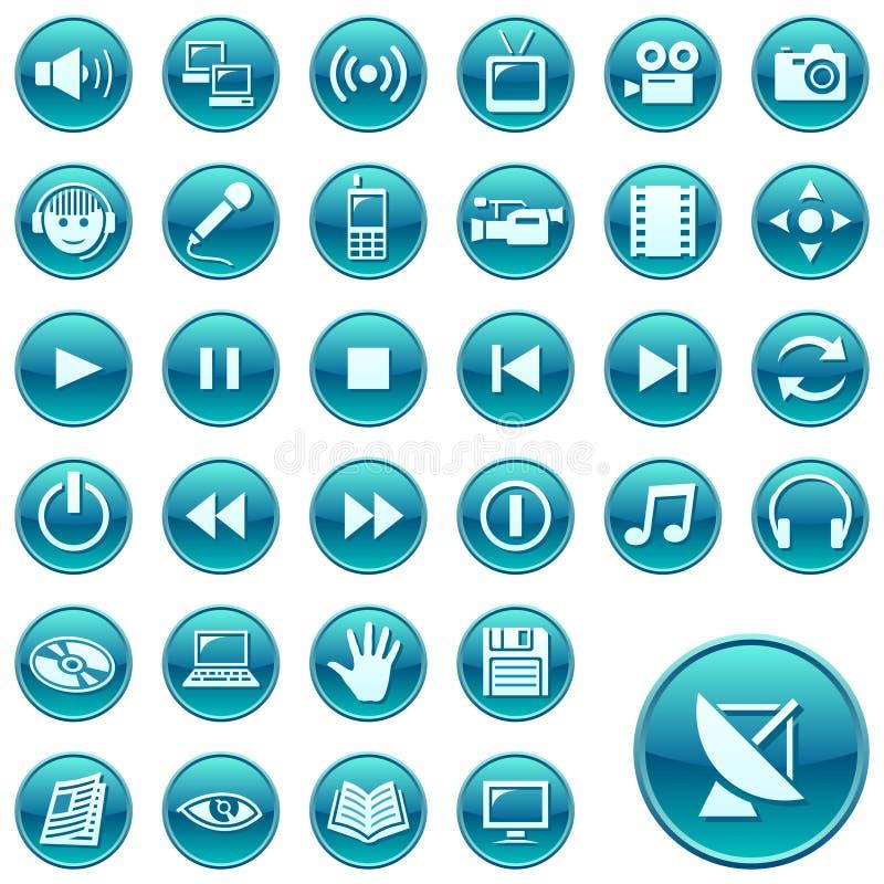 сеть 3 икон кнопок круглая иллюстрация вектора