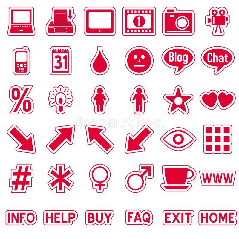 сеть 4 стикеров икон красная бесплатная иллюстрация