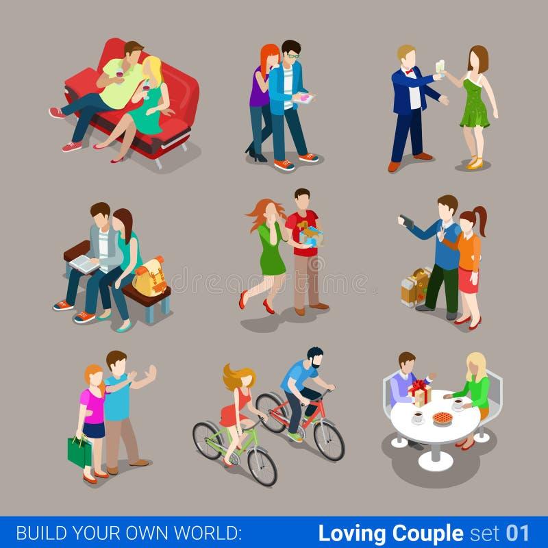 Сеть 3d равновеликая infographic co любящих пар плоская иллюстрация штока