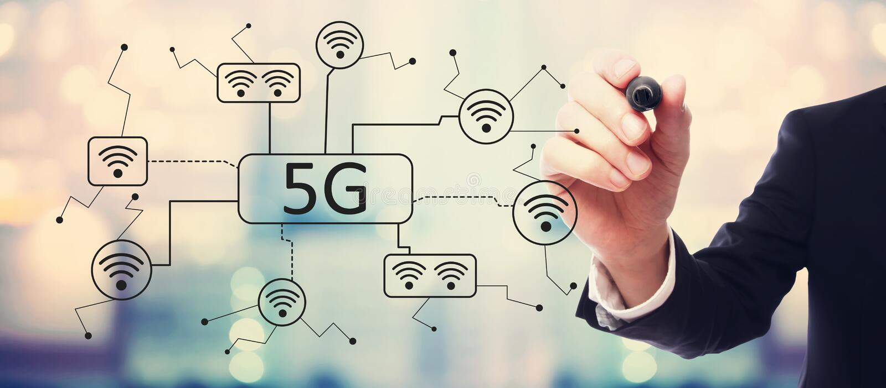 сеть 5G с бизнесменом иллюстрация вектора