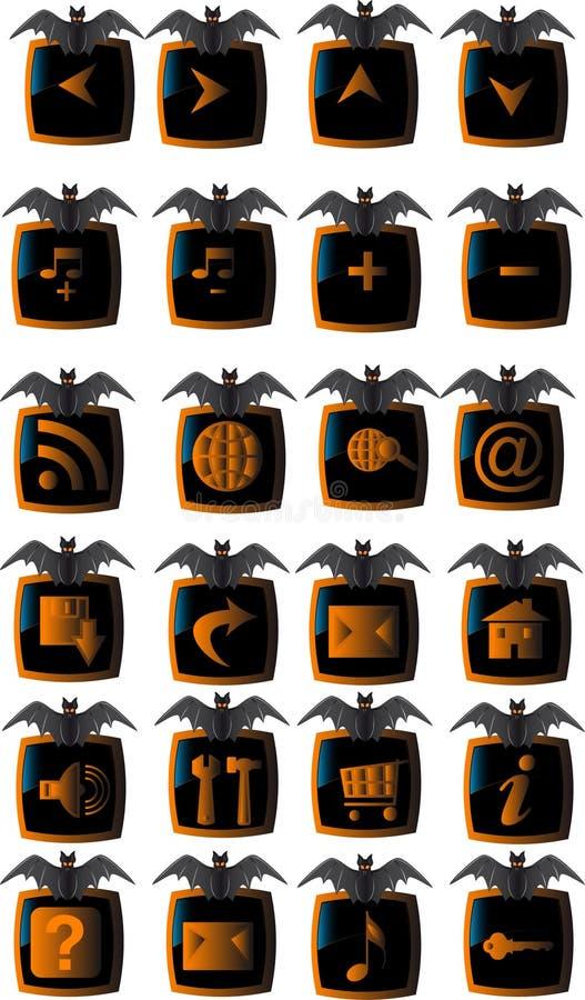 сеть halloween кнопок установленная бесплатная иллюстрация