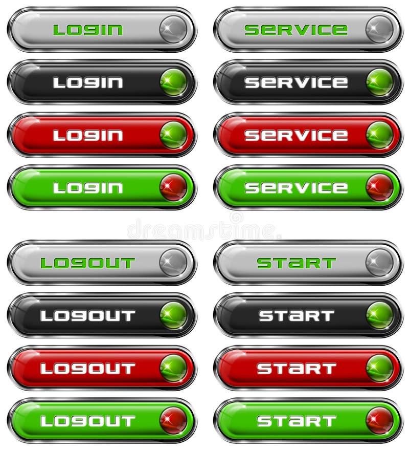 сеть n 7 кнопок установленная иллюстрация вектора