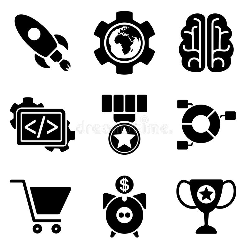 Сеть SEO и передвижное собрание значков логотипа иллюстрация штока
