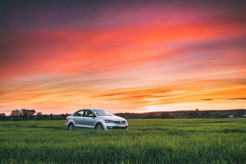 Седан автомобиля Volkswagen Polo Vento на пшенице проселочной дороги весной стоковые изображения rf