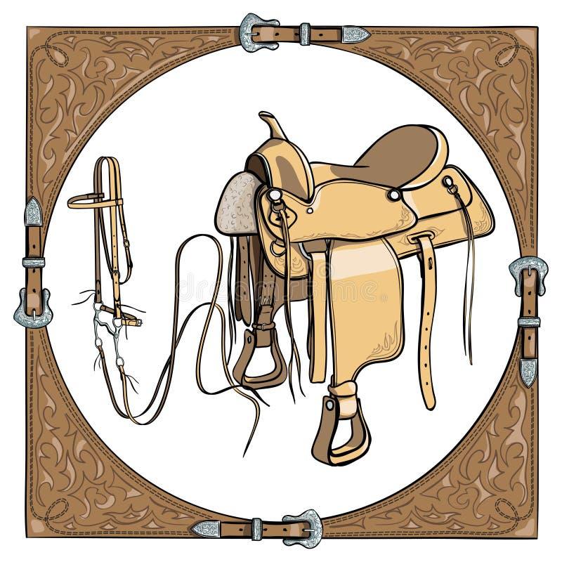 Седловина и уздечка ковбоя в западной кожаной рамке на белой предпосылке иллюстрация вектора