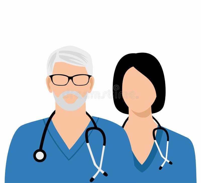 Седой доктор в стеклах и докторе женщины с стетоскопом иллюстрация штока