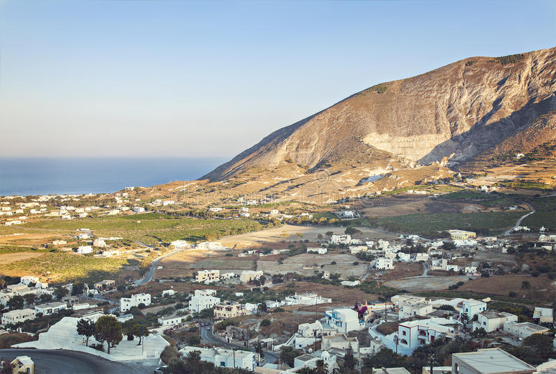 Сельская деревня Santorini стоковое изображение rf