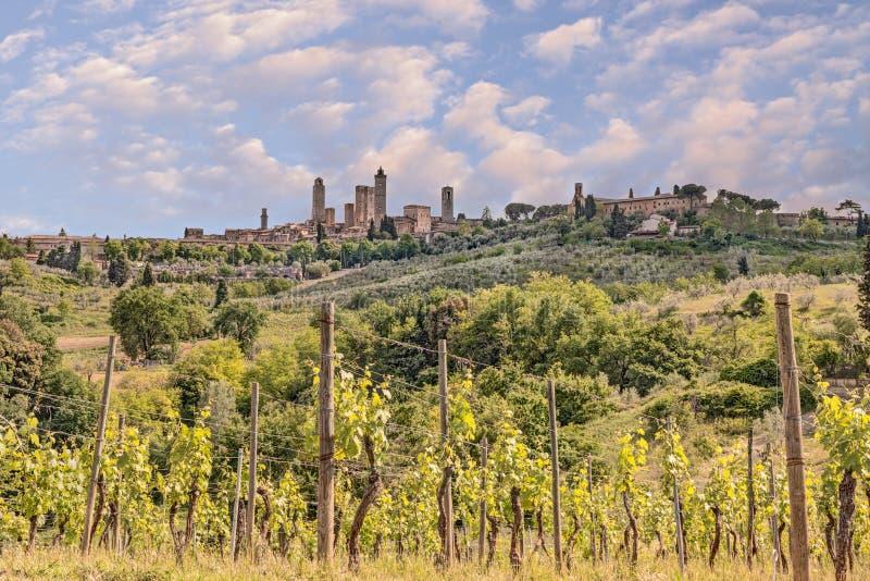 Сельская местность в San Gimignano, Тоскане, Италии стоковые фотографии rf