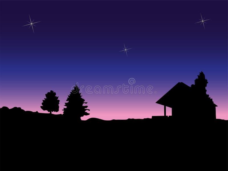 Сельская ноча иллюстрация вектора