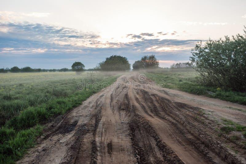 Сельская дорога ландшафта восхода солнца раннего утра в колейностях и тумане стоковое фото rf