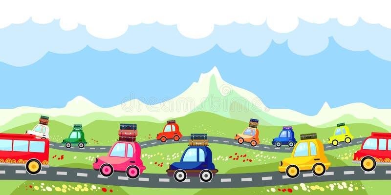 Сельская дорога с линией потока туристов иллюстрация вектора