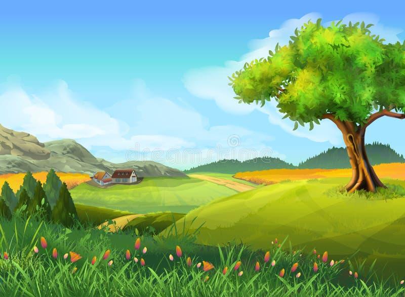 Сельский ландшафт, природа, лето иллюстрация штока