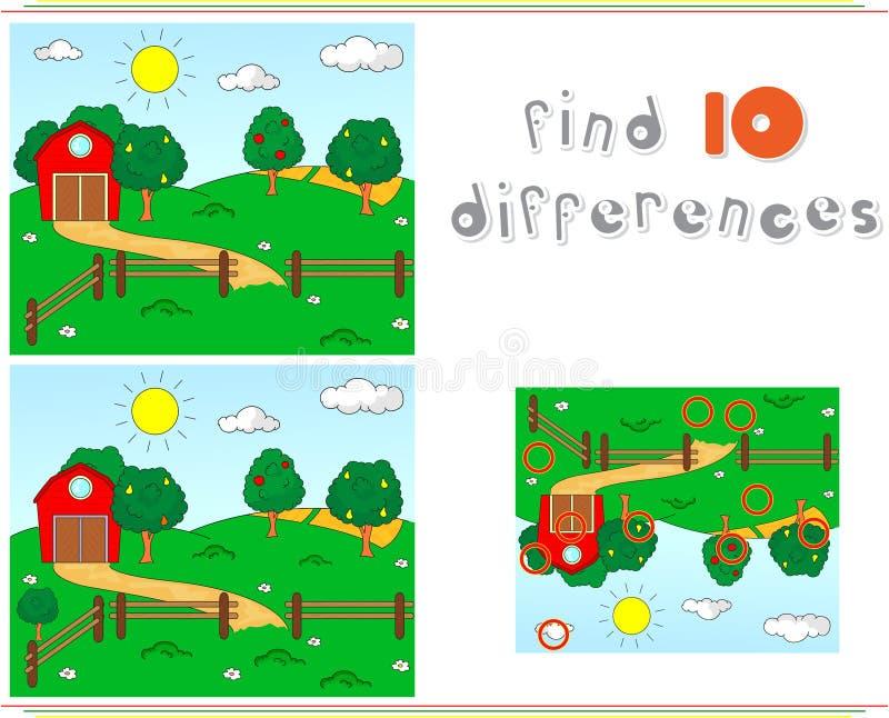 Сельский ландшафт с амбаром, загонами, плодоовощ-деревьями и полями educ иллюстрация вектора