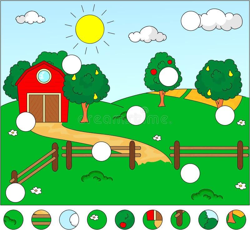 Сельский ландшафт с амбаром, загоном, полями и фруктовыми дерев дерев Compl иллюстрация штока