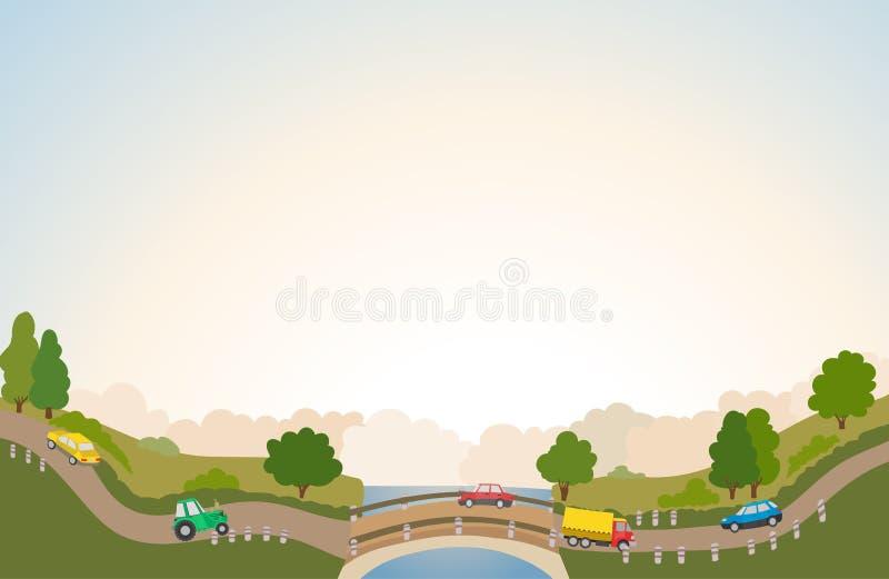 Сельский ландшафт с дорогой и автомобилями, рекой и мостом иллюстрация вектора