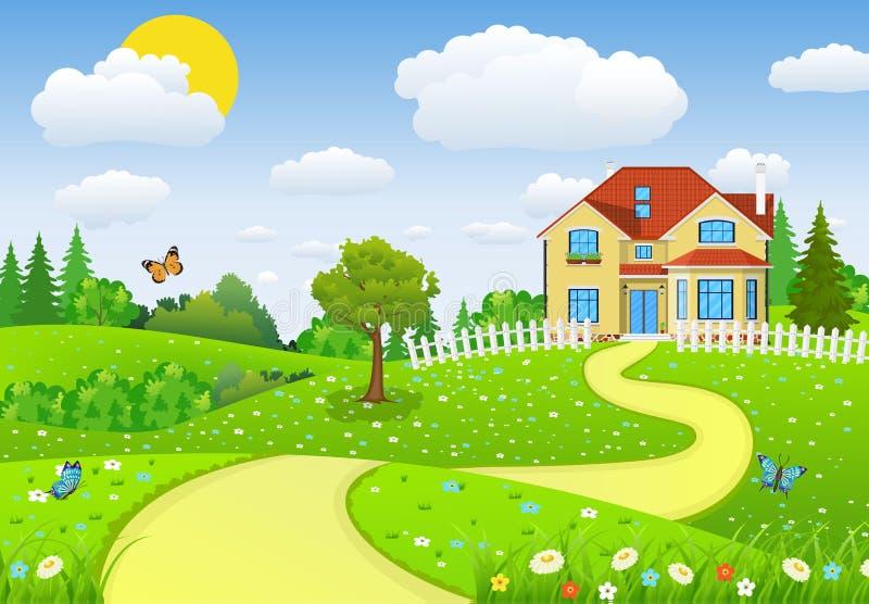 Сельский ландшафт с полями и холмами бесплатная иллюстрация