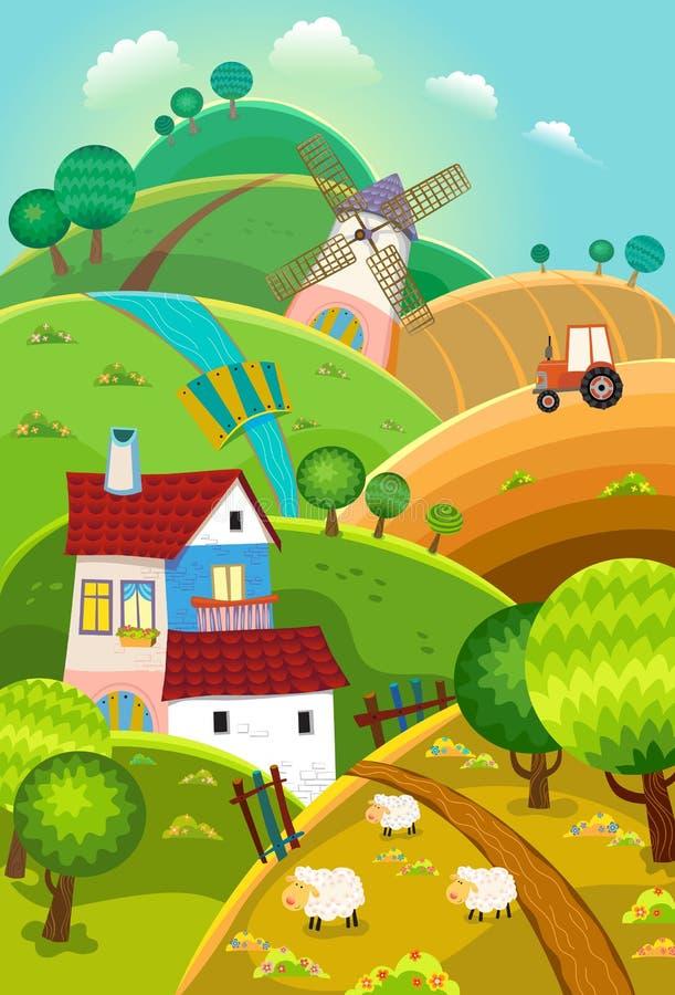 Сельский ландшафт бесплатная иллюстрация