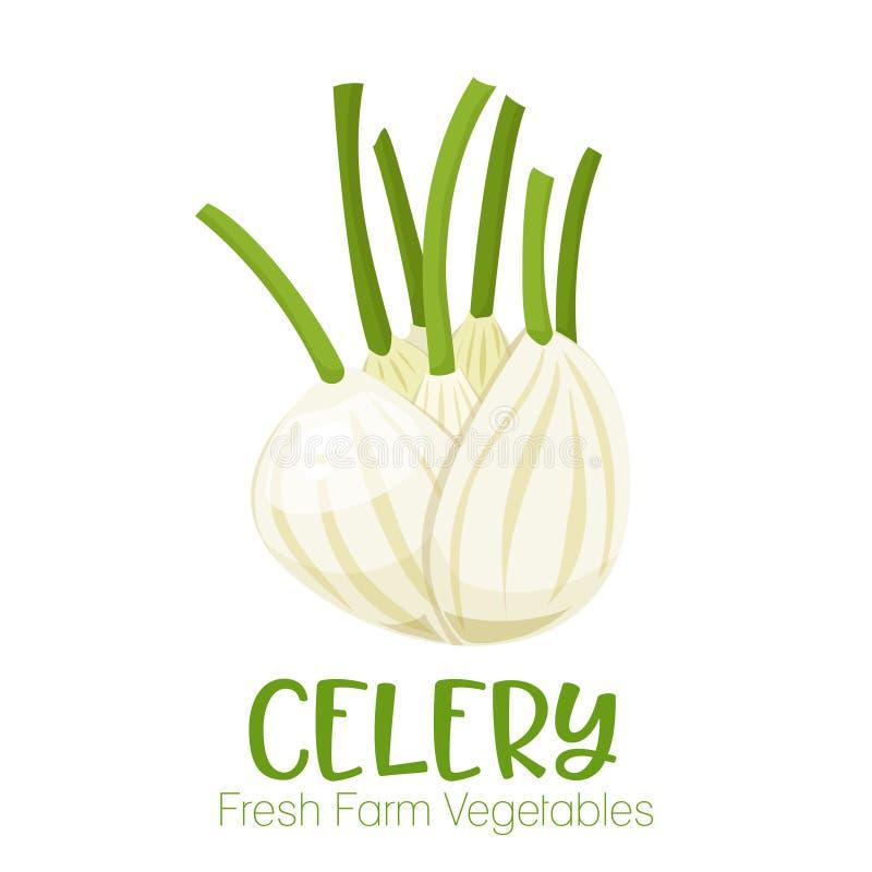 Сельдерей вектора изолированный на белой предпосылке Vegetable иллюстрация для меню рынка фермы Здоровый плакат дизайна еды бесплатная иллюстрация
