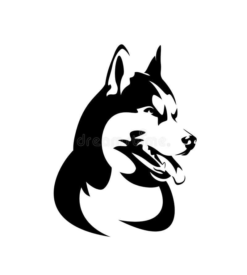 Сибирская сиплая черно-белая голова вектора иллюстрация вектора