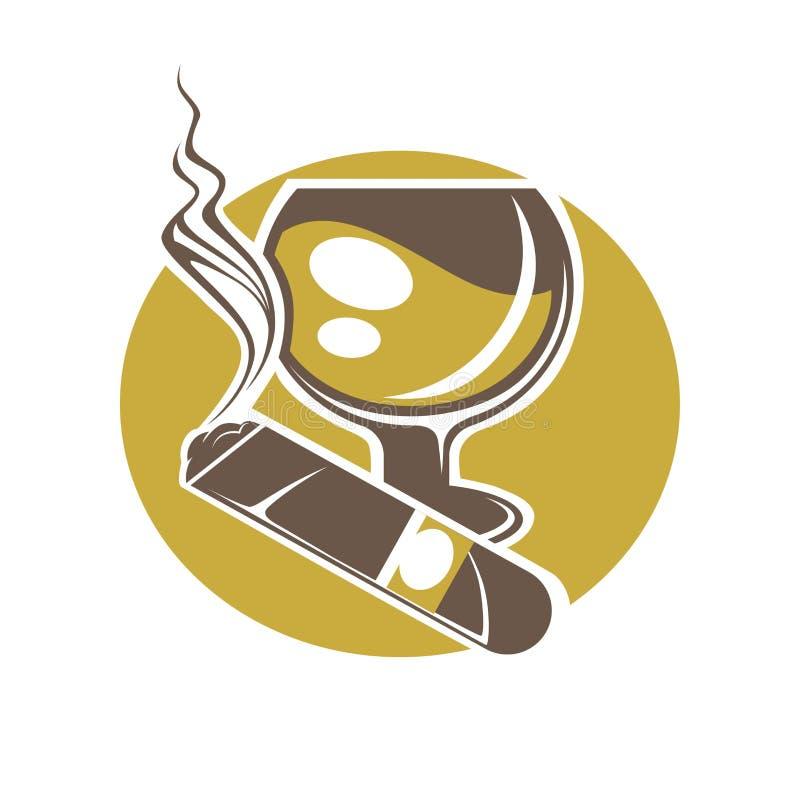 Сигара и стекло для логотипа вина или вискиа на белизне иллюстрация штока