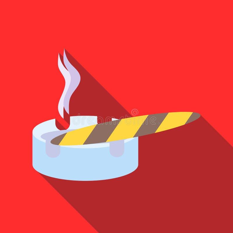 Сигара сгорели и значок ashtray, плоский стиль иллюстрация штока
