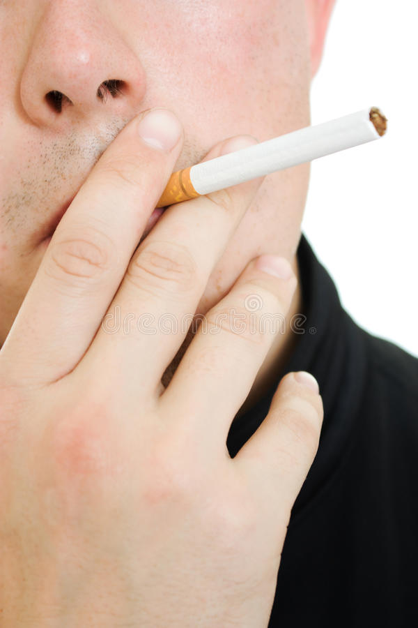 сигарета его рот человека стоковые изображения rf