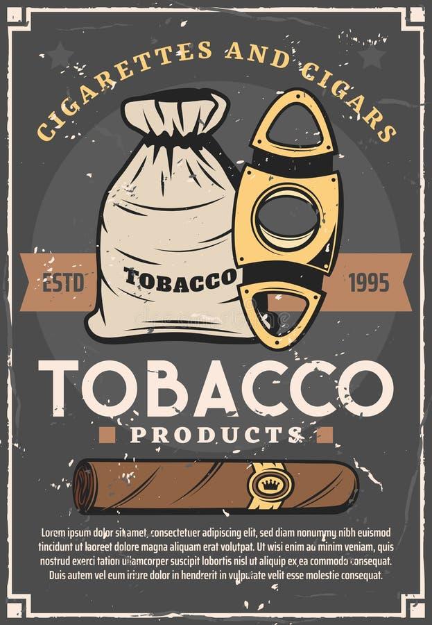 Сигарета, мешок с листьями табака, отрезанными ножницами иллюстрация штока