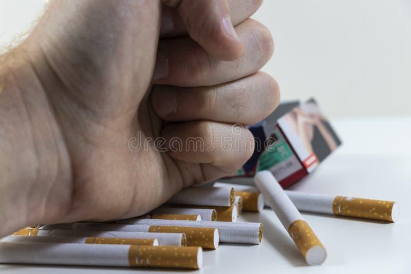 Сигареты руки ломая близко вверх стоковое фото rf