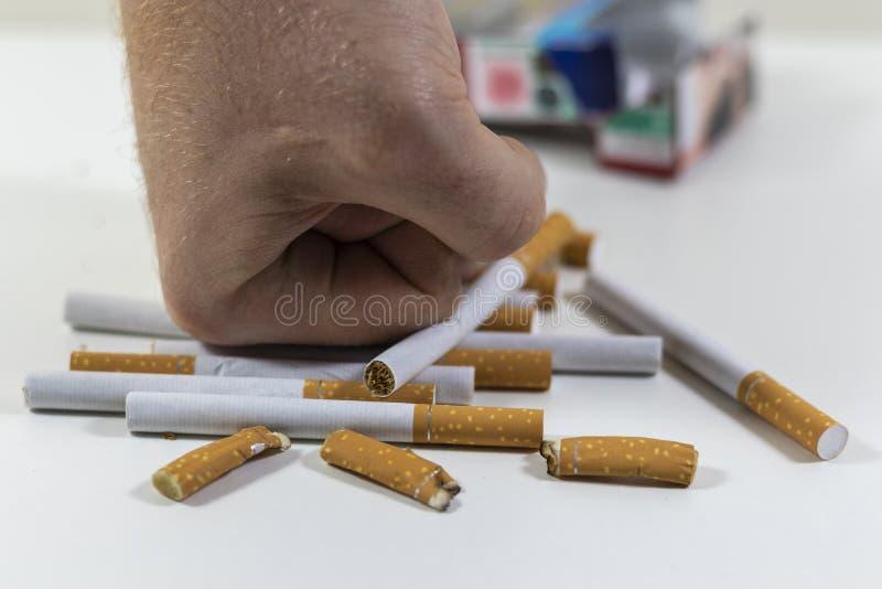 Сигареты руки ломая близко вверх стоковые изображения rf