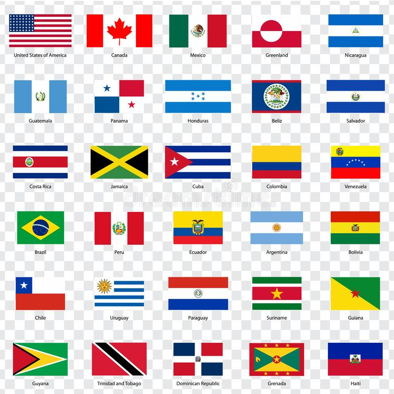 Сигнализирует страны севера и юга Америк 30 флагов американских стран с надписями и первоначально пропорциями на tra иллюстрация штока