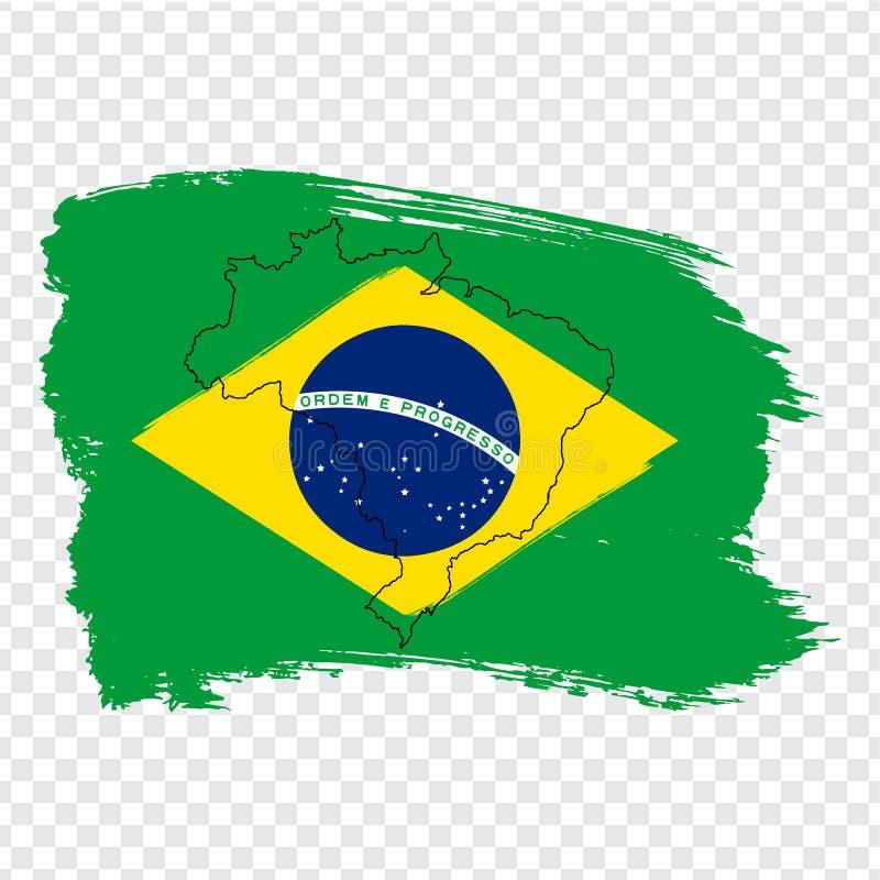 Сигнализируйте Бразилию от ходов щетки и прикройте карту Бразилию Высококачественная карта Бразилии и флага на прозрачной предпос бесплатная иллюстрация