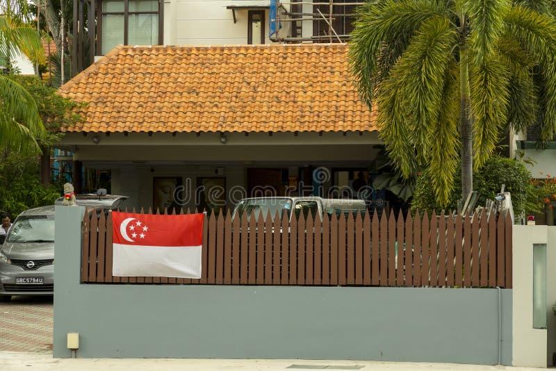Сигнализируйте на загородке на национальный праздник Сингапура стоковое изображение rf