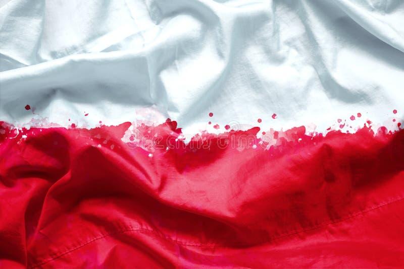 Сигнализируйте республику Польши кистью акварели на ткани холста, стиль grunge стоковое изображение rf