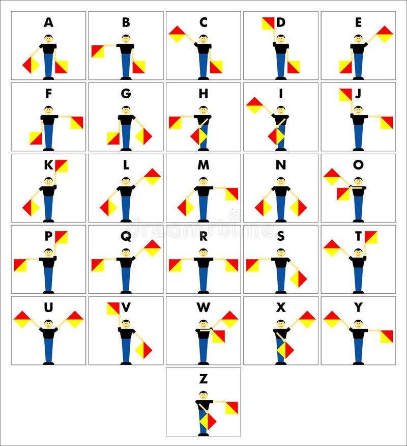 сигналы семафора флага алфавита иллюстрация вектора