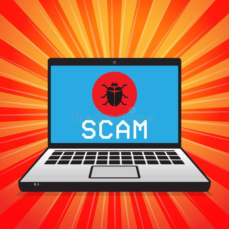Сигнал тревоги компьютерного вируса атакуя бесплатная иллюстрация