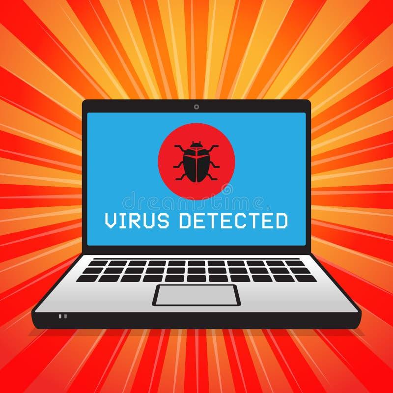 Сигнал тревоги компьютерного вируса атакуя иллюстрация штока