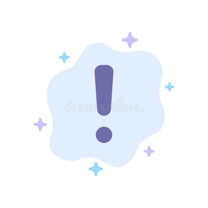 Сигнал тревоги, опасность, предупреждение, значок знака голубой на абстрактной предпосылке облака иллюстрация штока
