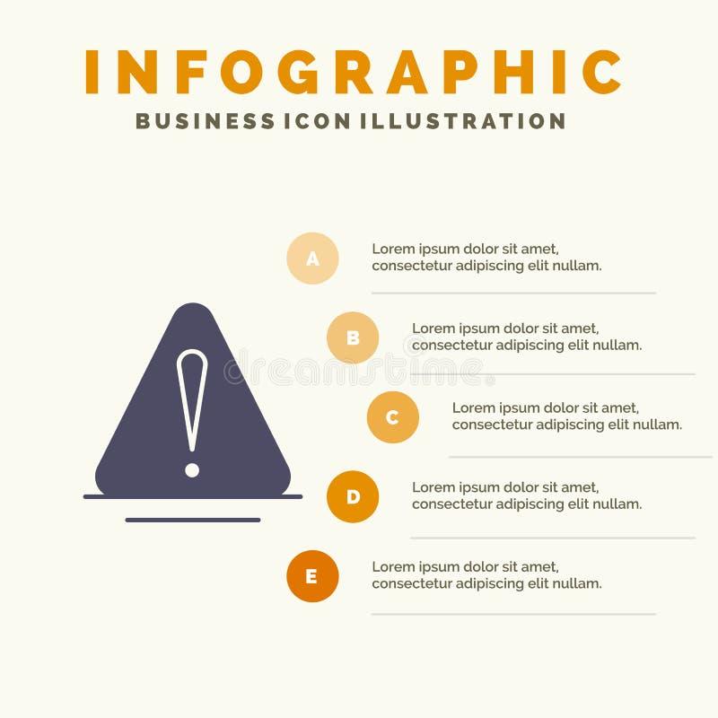Сигнал тревоги, опасность, предупреждение, логистическая твердая предпосылка представления шагов Infographics 5 значка иллюстрация штока