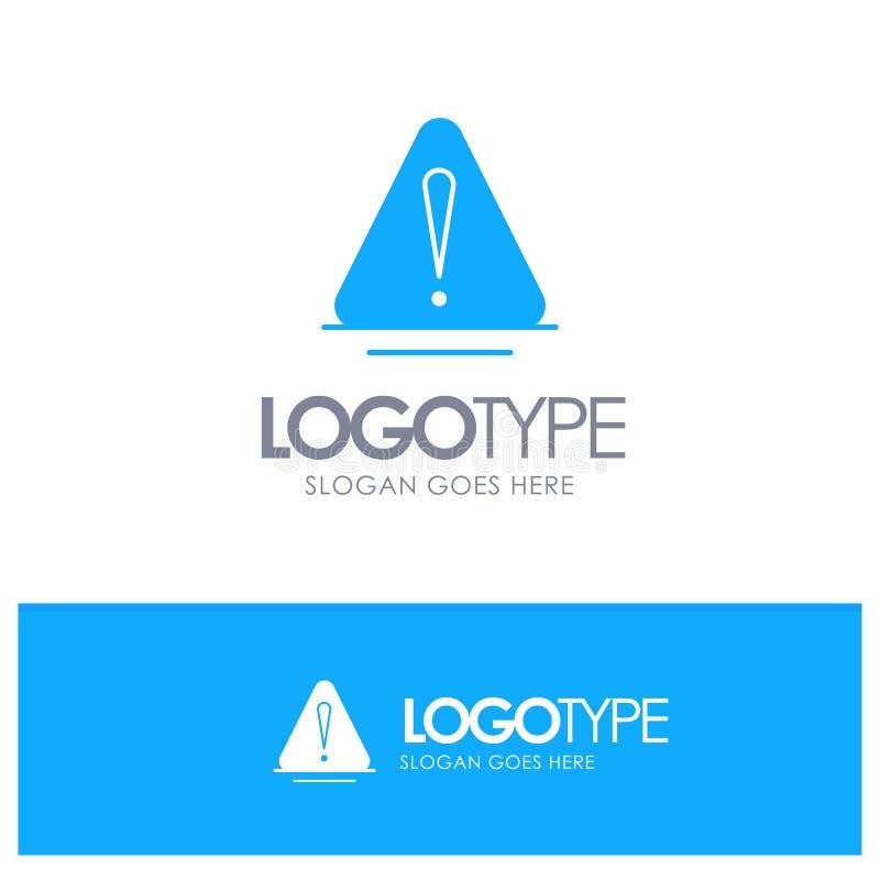 Сигнал тревоги, опасность, предупреждение, логистический голубой твердый логотип с местом для слогана иллюстрация вектора