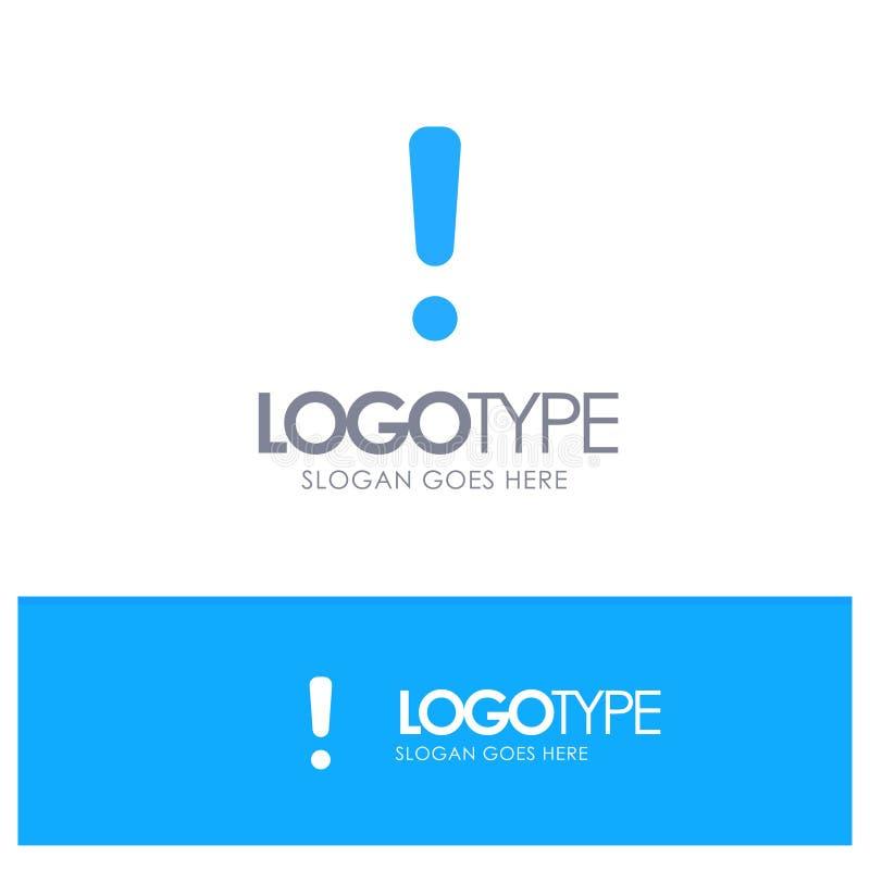 Сигнал тревоги, опасность, предупреждение, логотип знака голубой твердый с местом для слогана иллюстрация вектора