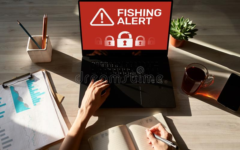 Сигнал тревоги рыбной ловли, очковтирательство, вирус, знамя обнаружения дыхания безопасностью кибер на экране Концепция предохра стоковая фотография rf