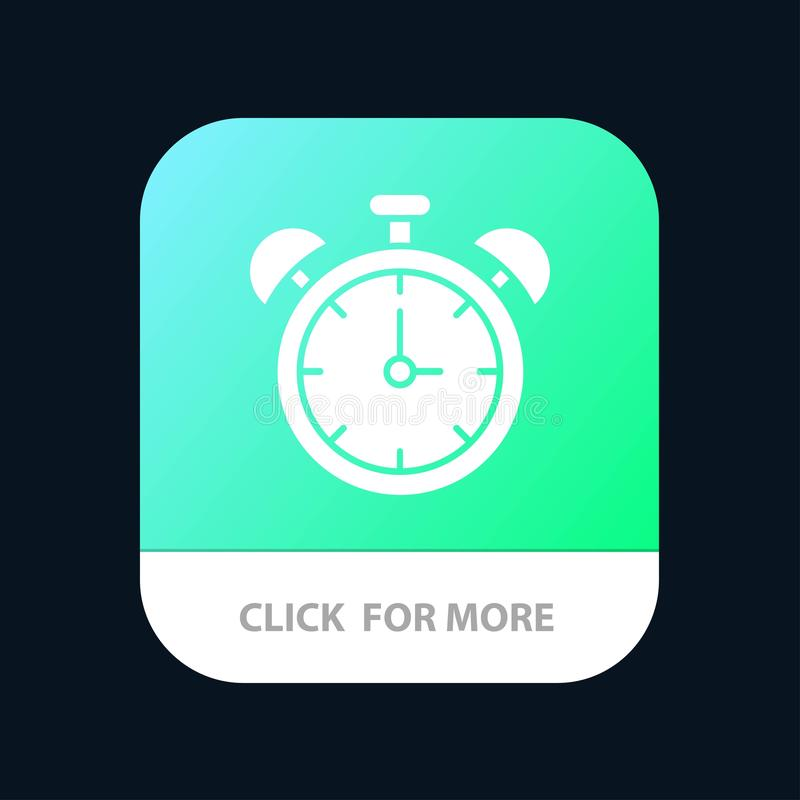 Сигнал тревоги, часы, образование, кнопка приложения времени мобильная Андроид и глиф IOS версия бесплатная иллюстрация