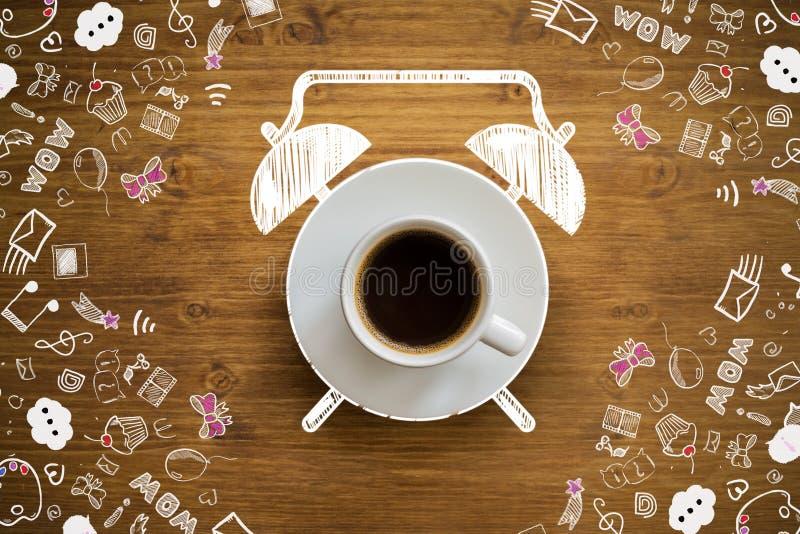 Сигнал тревоги кофейной чашки стоковая фотография rf