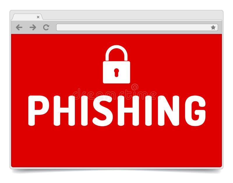Сигнал тревоги Phishing на раскрытом окне интернет-браузера с тенью иллюстрация вектора