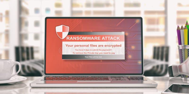Сигнал тревоги Ransomware на экране компьтер-книжки иллюстрация 3d иллюстрация вектора