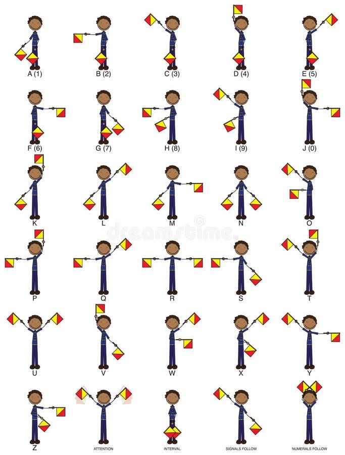 сигналы семафора 2-флага иллюстрация штока